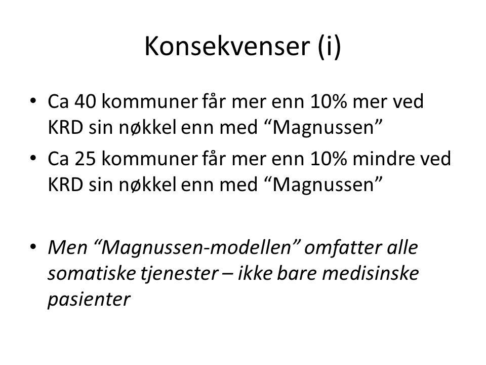 Konsekvenser (i) Ca 40 kommuner får mer enn 10% mer ved KRD sin nøkkel enn med Magnussen Ca 25 kommuner får mer enn 10% mindre ved KRD sin nøkkel enn med Magnussen Men Magnussen-modellen omfatter alle somatiske tjenester – ikke bare medisinske pasienter