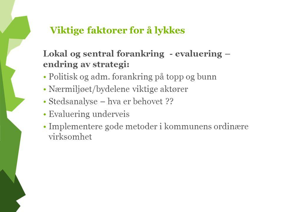 Viktige faktorer for å lykkes Lokal og sentral forankring - evaluering – endring av strategi: Politisk og adm.
