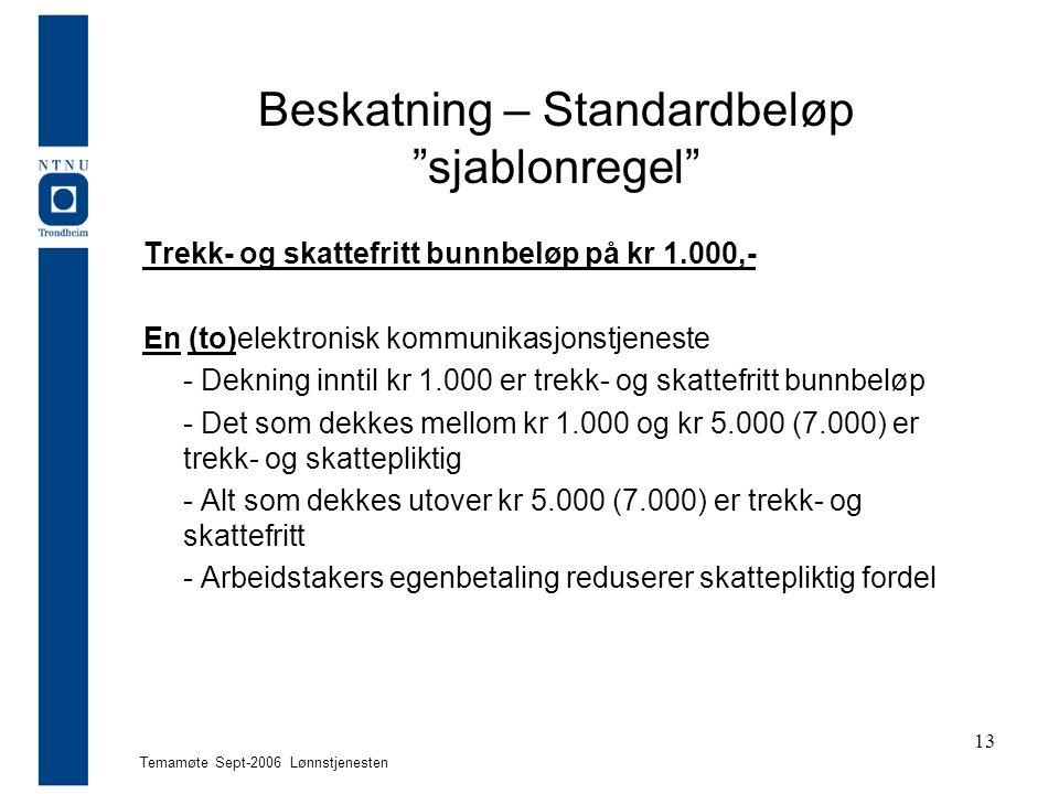"""Temamøte Sept-2006 Lønnstjenesten 13 Beskatning – Standardbeløp """"sjablonregel"""" Trekk- og skattefritt bunnbeløp på kr 1.000,- En (to)elektronisk kommun"""