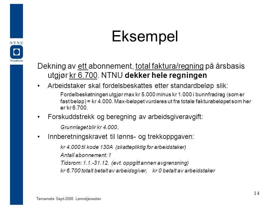 Temamøte Sept-2006 Lønnstjenesten 14 Eksempel Dekning av ett abonnement, total faktura/regning på årsbasis utgjør kr 6.700.