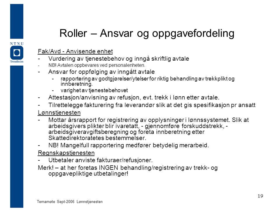 Temamøte Sept-2006 Lønnstjenesten 19 Roller – Ansvar og oppgavefordeling Fak/Avd - Anvisende enhet -Vurdering av tjenestebehov og inngå skriftlig avtale -NB.