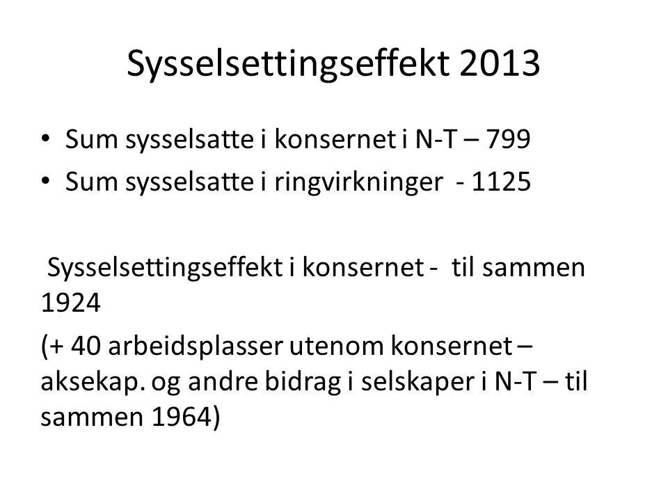 Sysselsettingseffekt 2013 Sum sysselsatte i konsernet i N-T – 799 Sum sysselsatte i ringvirkninger - 1125 Sysselsettingseffekt i konsernet - til sammen 1924 (+ 40 arbeidsplasser utenom konsernet – aksekap.