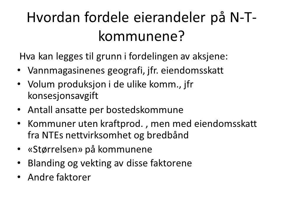 Mulig hovedproblemstilling Skal en ved fordeling av eierandeler legge mest vekt på det som «passer» Namdal best – f.eks.