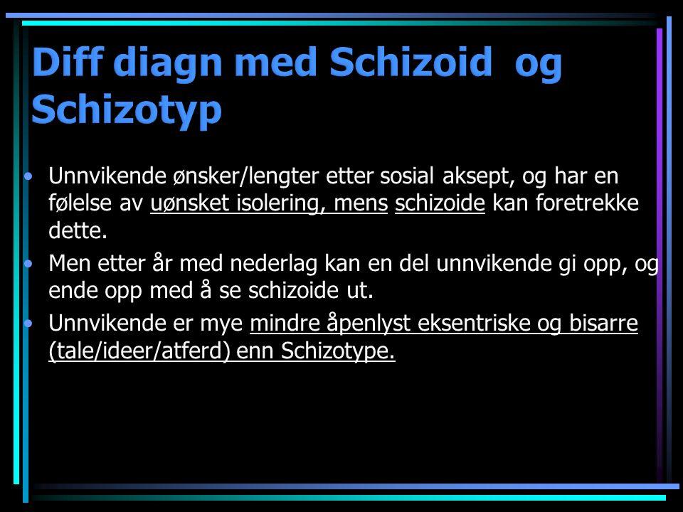 Unnvikende ønsker/lengter etter sosial aksept, og har en følelse av uønsket isolering, mens schizoide kan foretrekke dette.