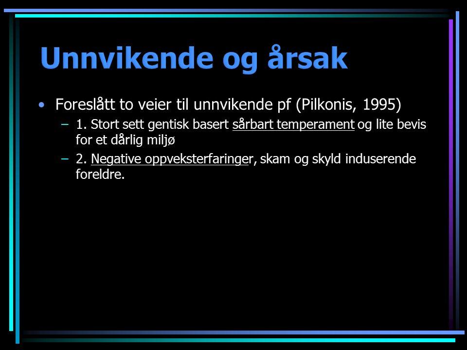 Foreslått to veier til unnvikende pf (Pilkonis, 1995) –1. Stort sett gentisk basert sårbart temperament og lite bevis for et dårlig miljø –2. Negative