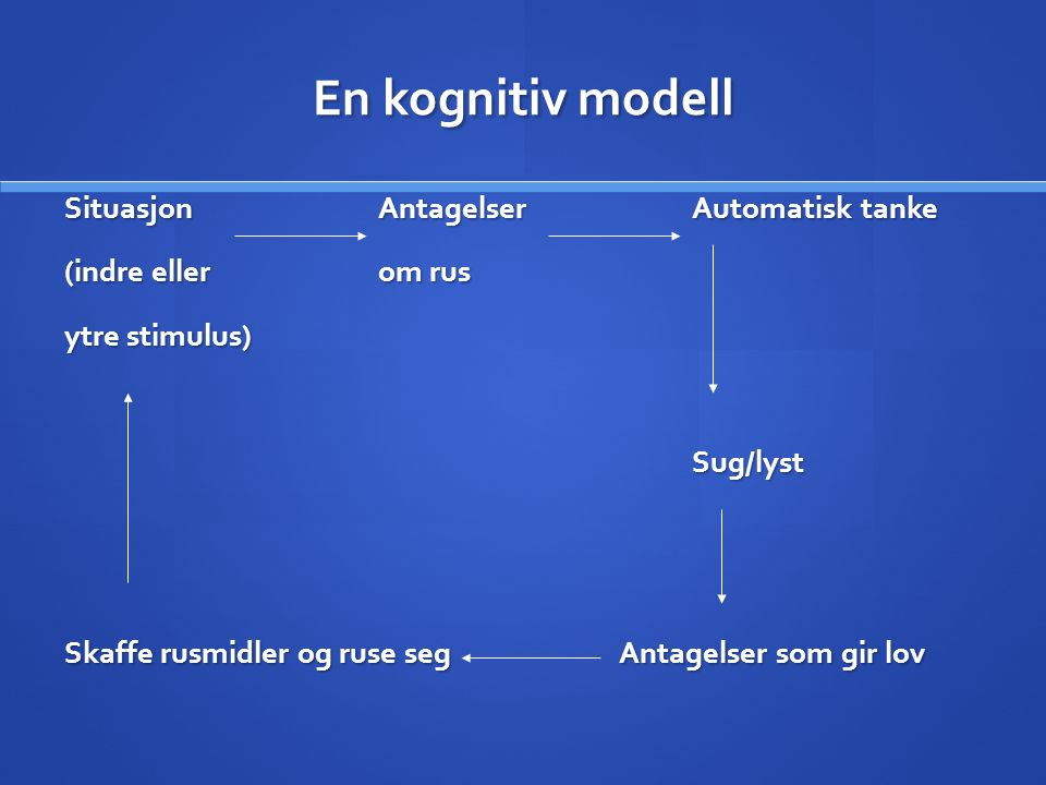 En kognitiv modell SituasjonAntagelser Automatisk tanke (indre ellerom rus ytre stimulus) Sug/lyst Skaffe rusmidler og ruse seg Antagelser som gir lov
