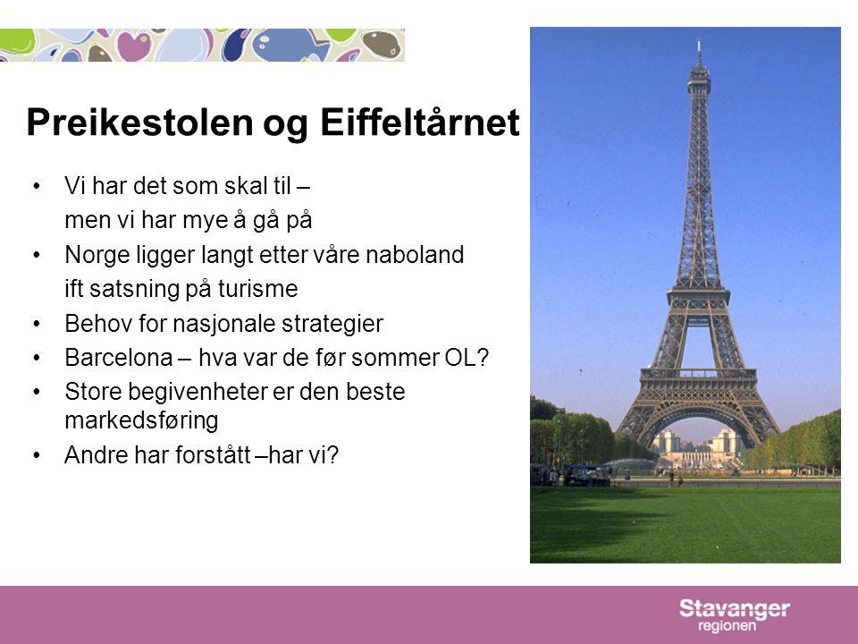 Preikestolen og Eiffeltårnet Vi har det som skal til – men vi har mye å gå på Norge ligger langt etter våre naboland ift satsning på turisme Behov for nasjonale strategier Barcelona – hva var de før sommer OL.