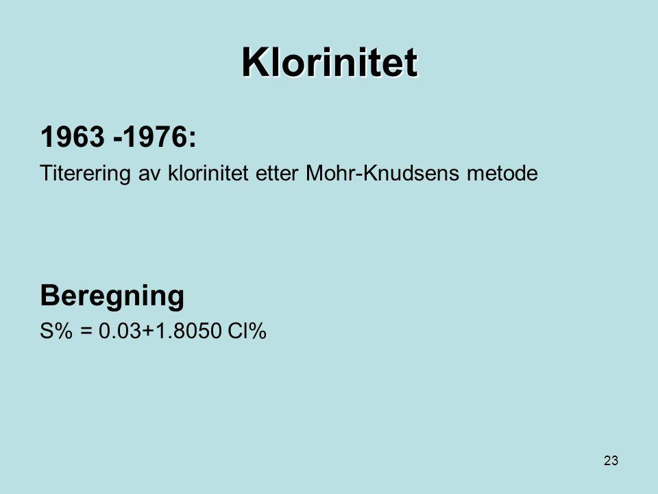 22 Saltholdighet (S) Kan beregnes ut fra Konduktivitet Titrering av klorinitet etter Mohr-Knudsen metode Brytningsindeks (refraktometer) Tetthet (areometer)  (Saltholdighet (S) benevnes psu og er ubenevnt)