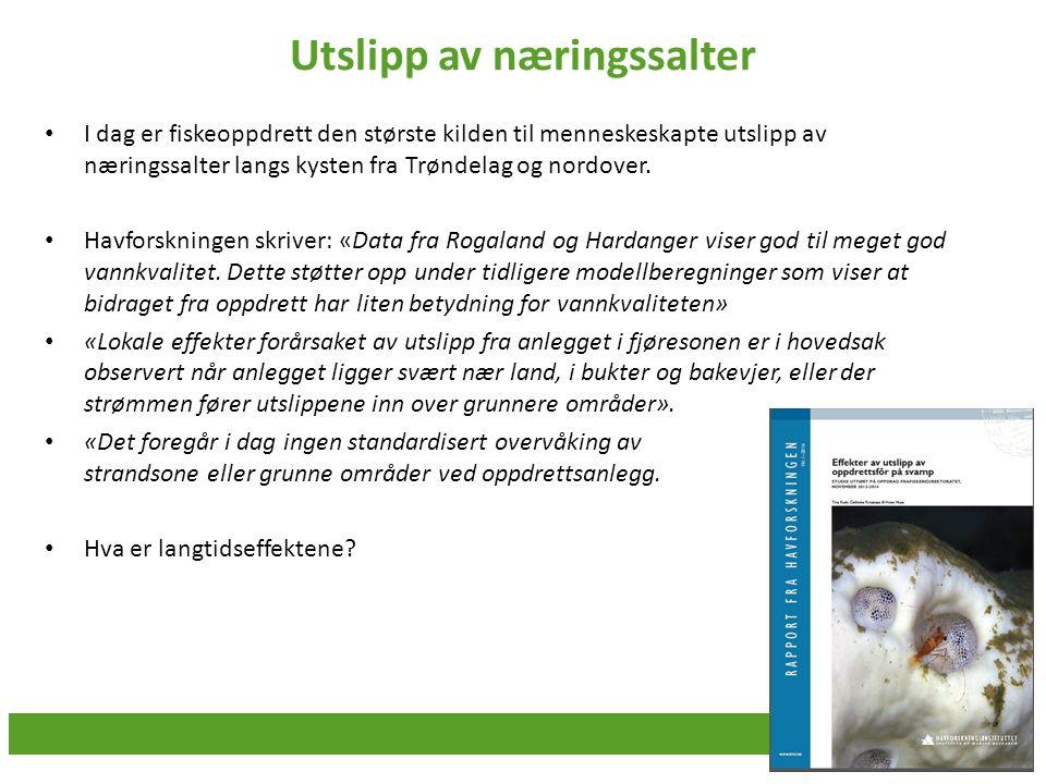Utslipp av næringssalter I dag er fiskeoppdrett den største kilden til menneskeskapte utslipp av næringssalter langs kysten fra Trøndelag og nordover.