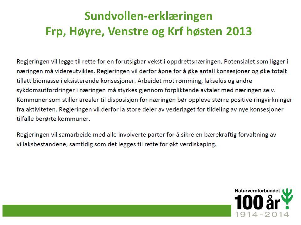 Sundvollen-erklæringen Frp, Høyre, Venstre og Krf høsten 2013