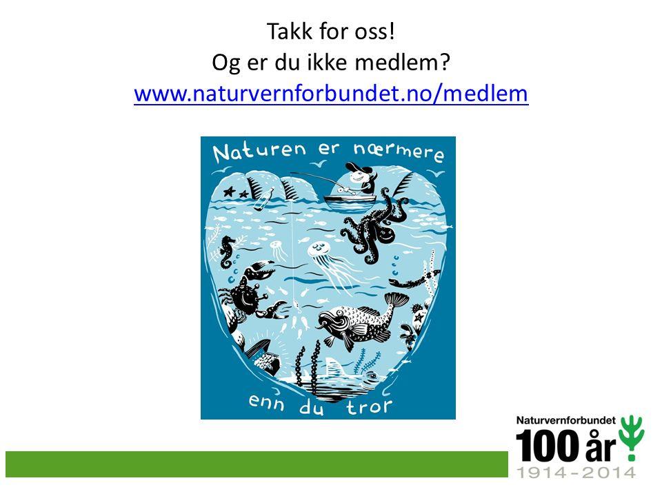 Takk for oss! Og er du ikke medlem? www.naturvernforbundet.no/medlem www.naturvernforbundet.no/medlem