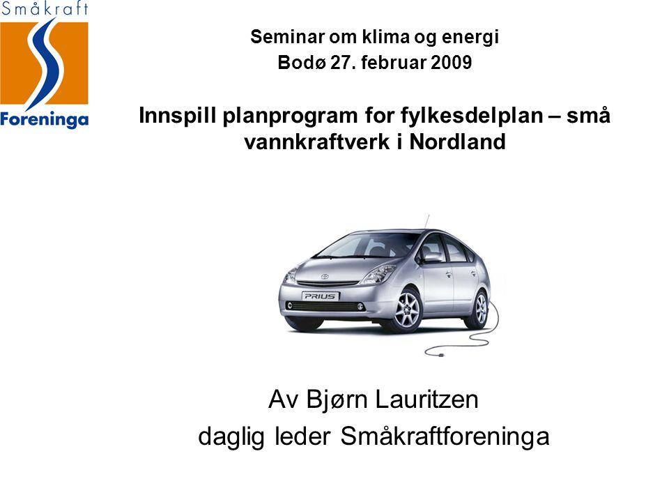 Seminar om klima og energi Bodø 27. februar 2009 Innspill planprogram for fylkesdelplan – små vannkraftverk i Nordland Av Bjørn Lauritzen daglig leder