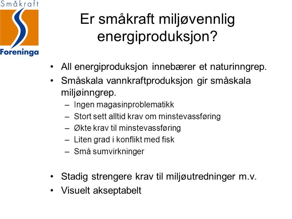 Er småkraft miljøvennlig energiproduksjon? All energiproduksjon innebærer et naturinngrep. Småskala vannkraftproduksjon gir småskala miljøinngrep. –In