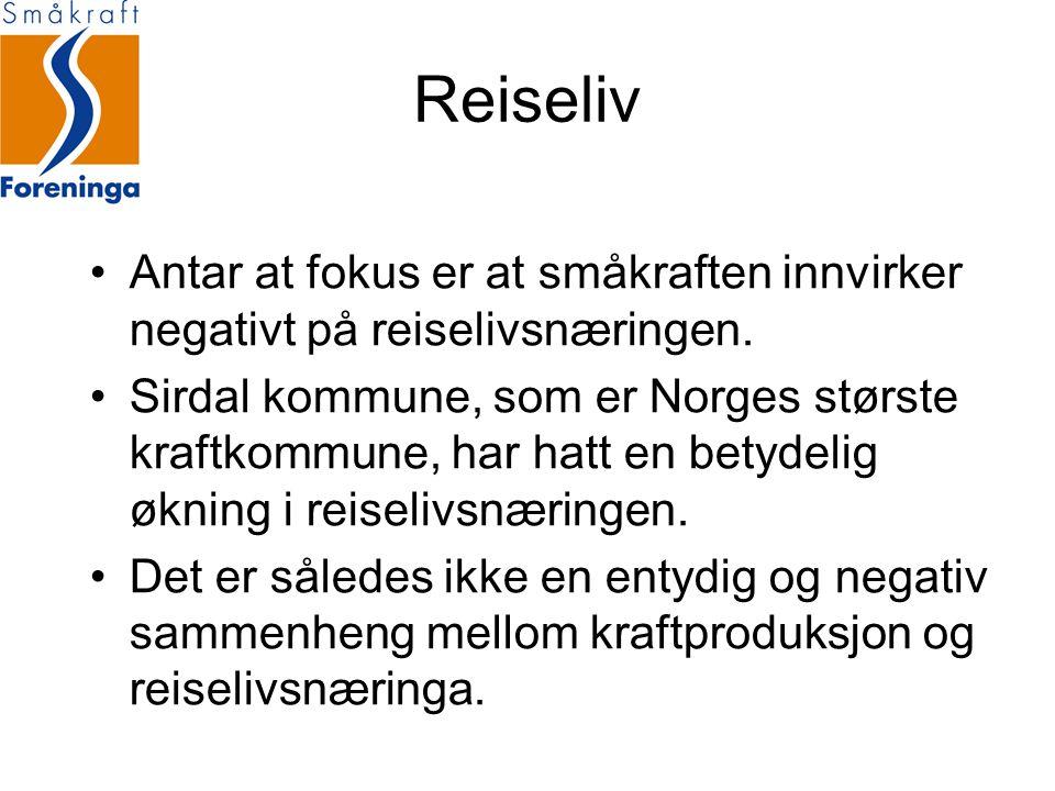 Reiseliv Antar at fokus er at småkraften innvirker negativt på reiselivsnæringen. Sirdal kommune, som er Norges største kraftkommune, har hatt en bety