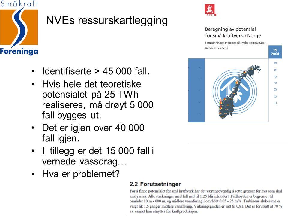 NVEs ressurskartlegging Identifiserte > 45 000 fall. Hvis hele det teoretiske potensialet på 25 TWh realiseres, må drøyt 5 000 fall bygges ut. Det er