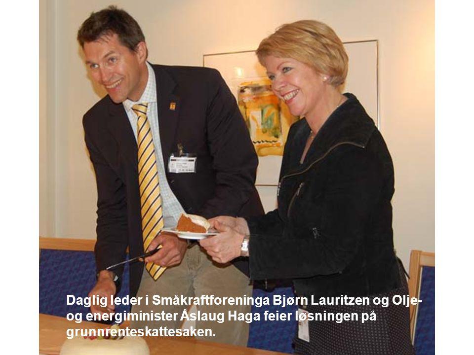Daglig leder i Småkraftforeninga Bjørn Lauritzen og Olje- og energiminister Åslaug Haga feier løsningen på grunnrenteskattesaken.