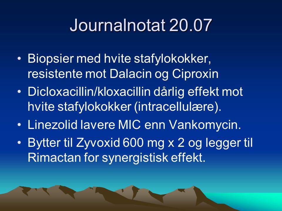 Journalnotat 20.07 Biopsier med hvite stafylokokker, resistente mot Dalacin og Ciproxin Dicloxacillin/kloxacillin dårlig effekt mot hvite stafylokokker (intracellulære).