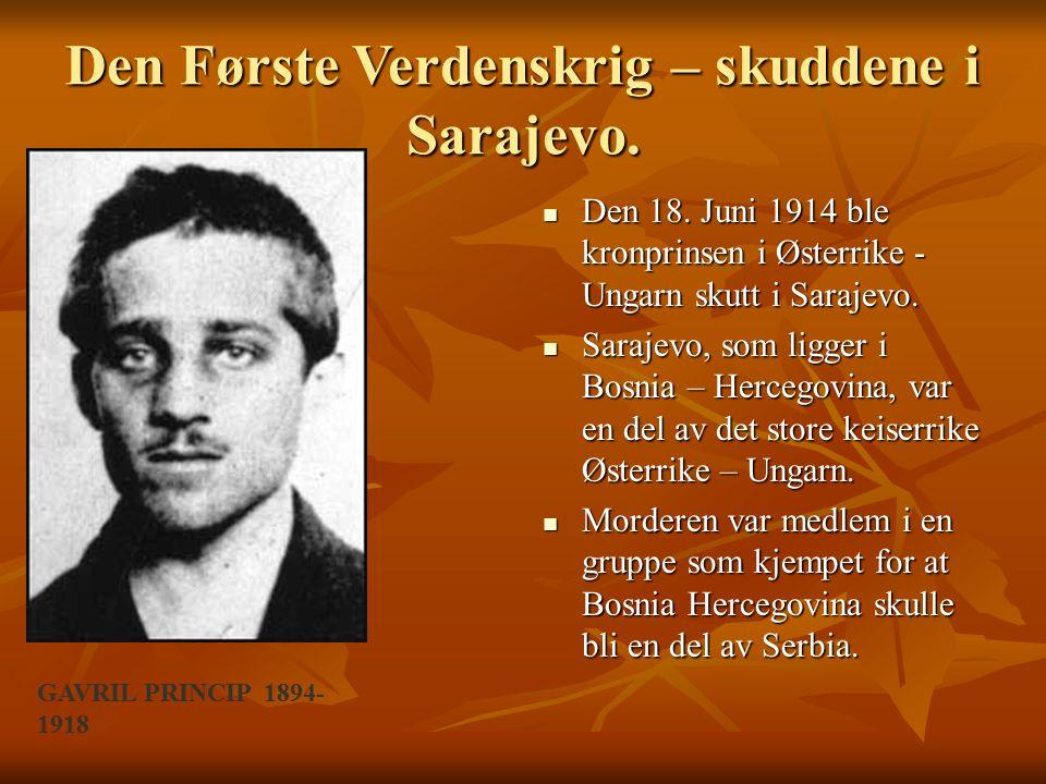 Den Første Verdenskrig – skuddene i Sarajevo.Den 18.