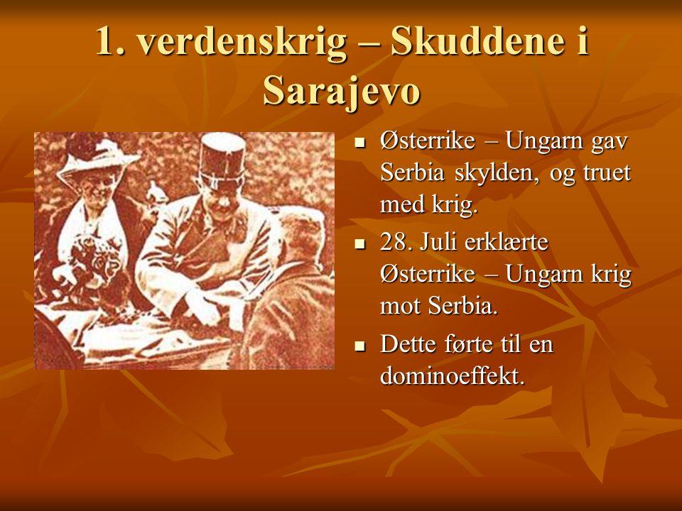 1.verdenskrig – Skuddene i Sarajevo Østerrike – Ungarn gav Serbia skylden, og truet med krig.