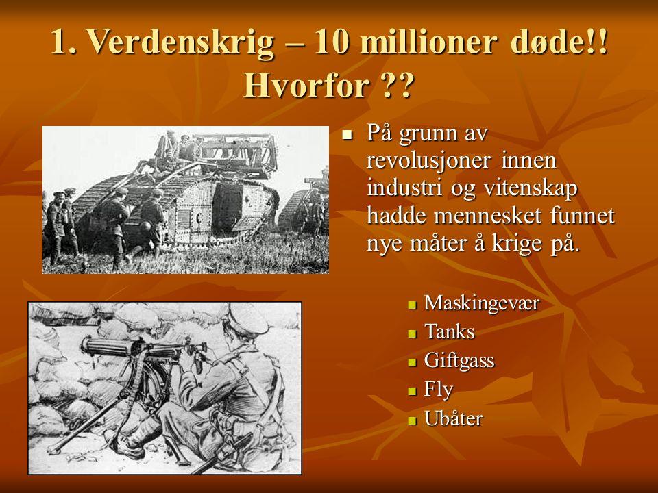 1.Verdenskrig – 10 millioner døde!. Hvorfor ?.