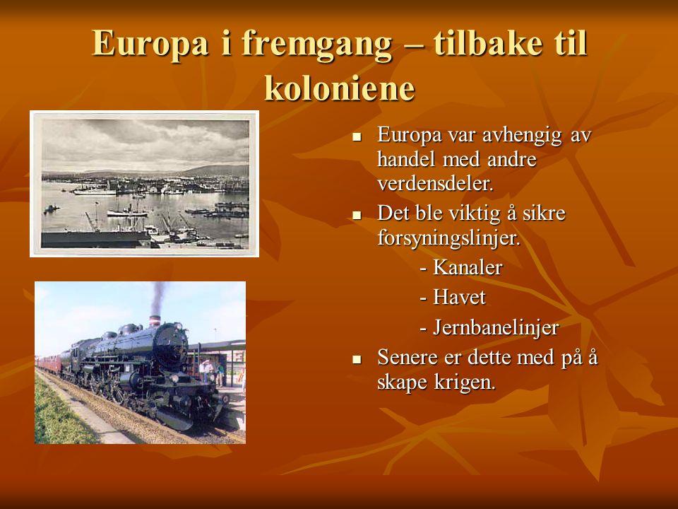 Europa i fremgang – tilbake til koloniene Europa var avhengig av handel med andre verdensdeler.