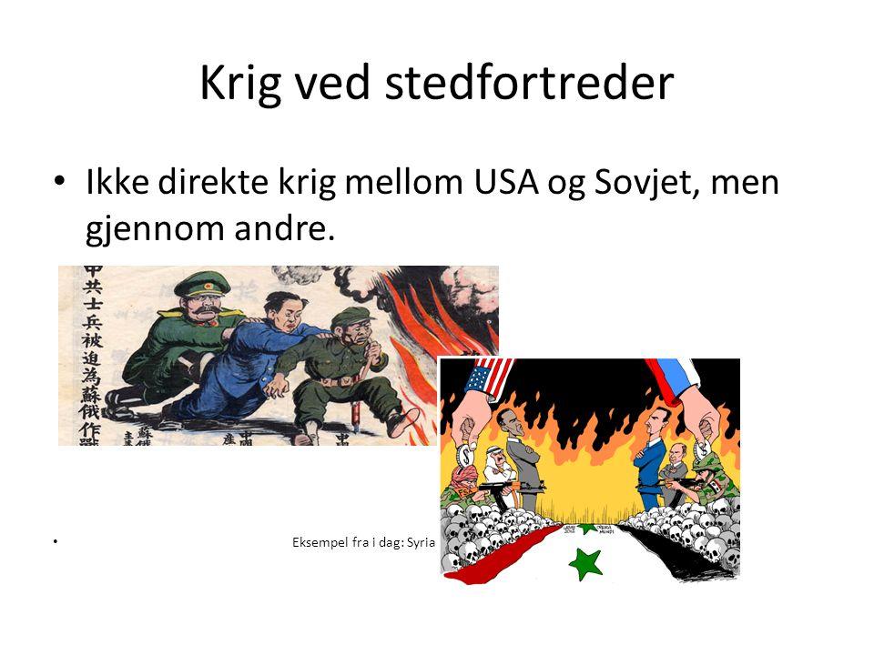 Krig ved stedfortreder Ikke direkte krig mellom USA og Sovjet, men gjennom andre.