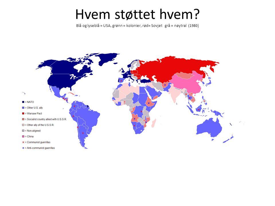 Hvem støttet hvem Blå og lyseblå = USA, grønn = kolonier, rød= Sovjet grå = nøytral (1980)