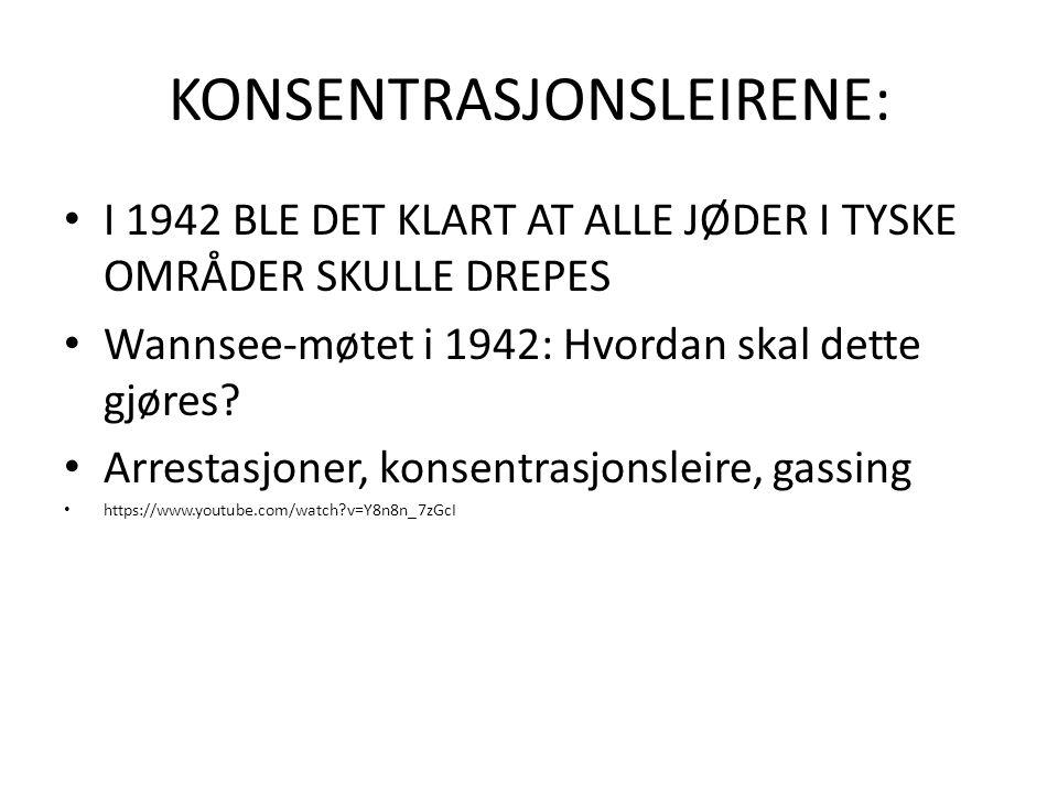 KONSENTRASJONSLEIRENE: I 1942 BLE DET KLART AT ALLE JØDER I TYSKE OMRÅDER SKULLE DREPES Wannsee-møtet i 1942: Hvordan skal dette gjøres? Arrestasjoner