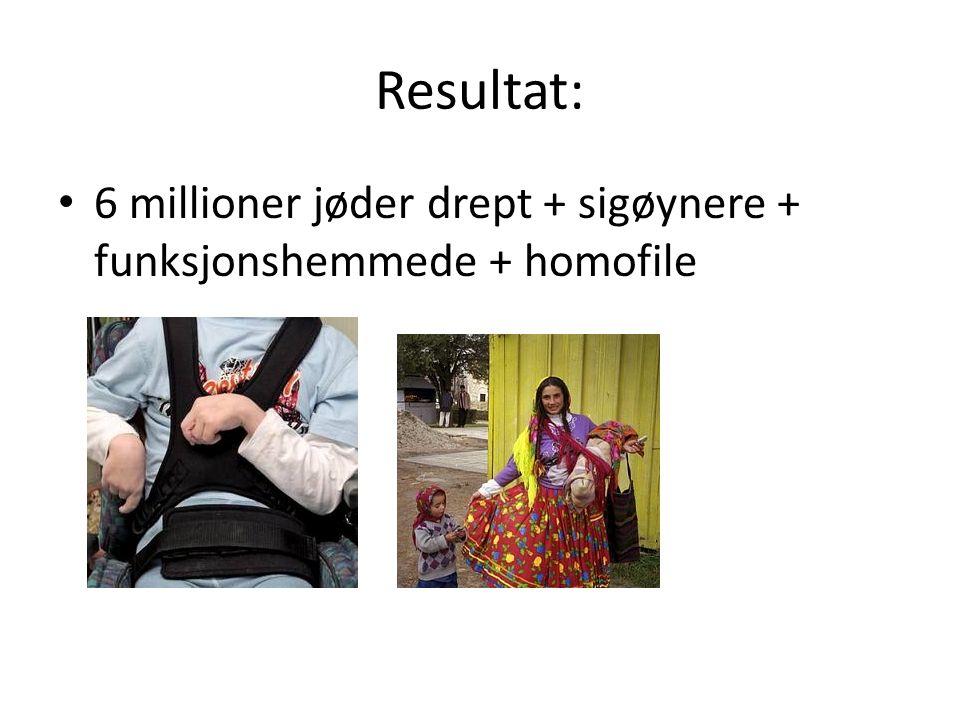 Resultat: 6 millioner jøder drept + sigøynere + funksjonshemmede + homofile