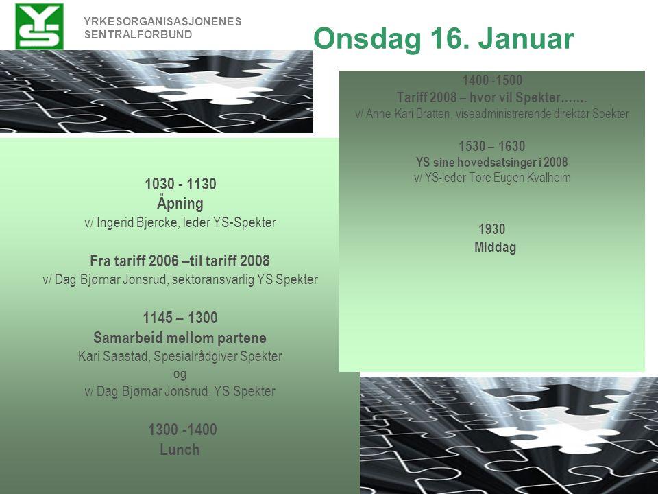 YRKESORGANISASJONENES SENTRALFORBUND Torsdag 17.januar 0900-1000 Hovedavtalen - hva er nytt.