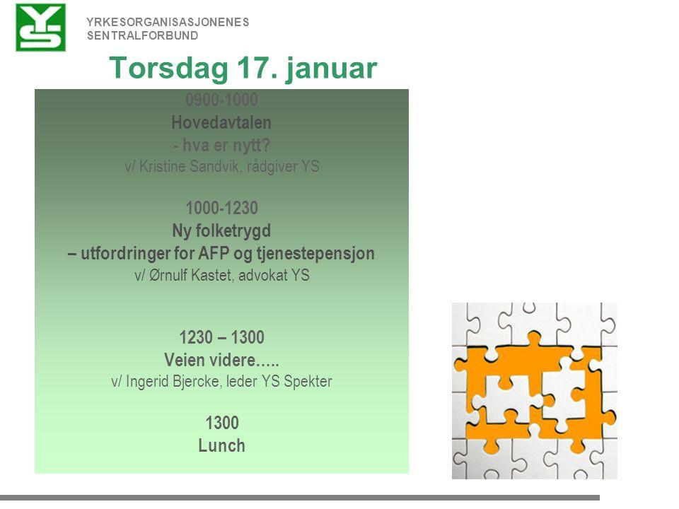 YRKESORGANISASJONENES SENTRALFORBUND Torsdag 17. januar 0900-1000 Hovedavtalen - hva er nytt.