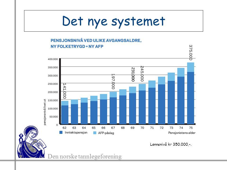 Den norske tannlegeforening Det nye systemet Lønnsnivå kr 350.000,-. 231.000