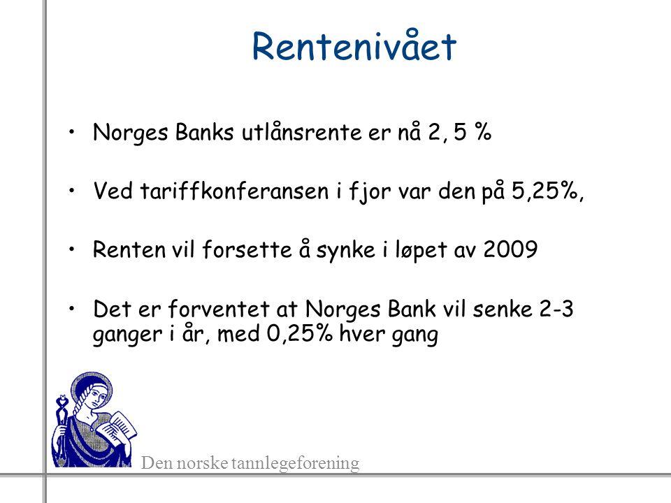 Den norske tannlegeforening Rentenivået Norges Banks utlånsrente er nå 2, 5 % Ved tariffkonferansen i fjor var den på 5,25%, Renten vil forsette å synke i løpet av 2009 Det er forventet at Norges Bank vil senke 2-3 ganger i år, med 0,25% hver gang