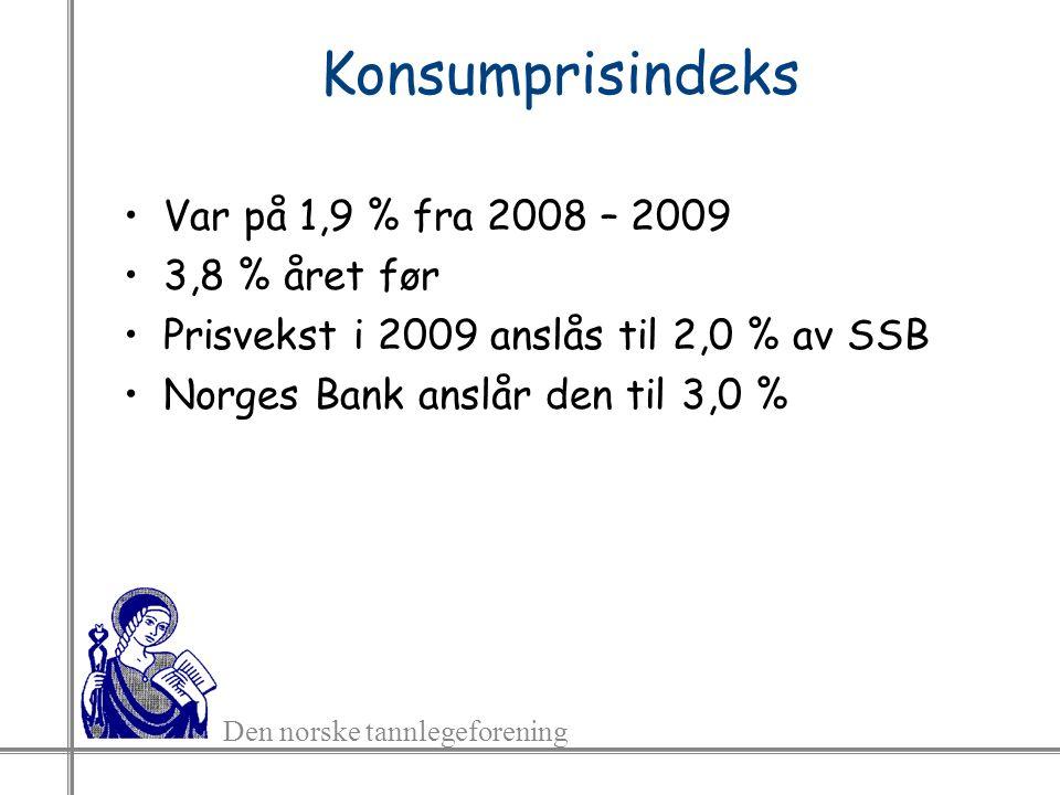 Den norske tannlegeforening Konsumprisindeks Var på 1,9 % fra 2008 – 2009 3,8 % året før Prisvekst i 2009 anslås til 2,0 % av SSB Norges Bank anslår den til 3,0 %
