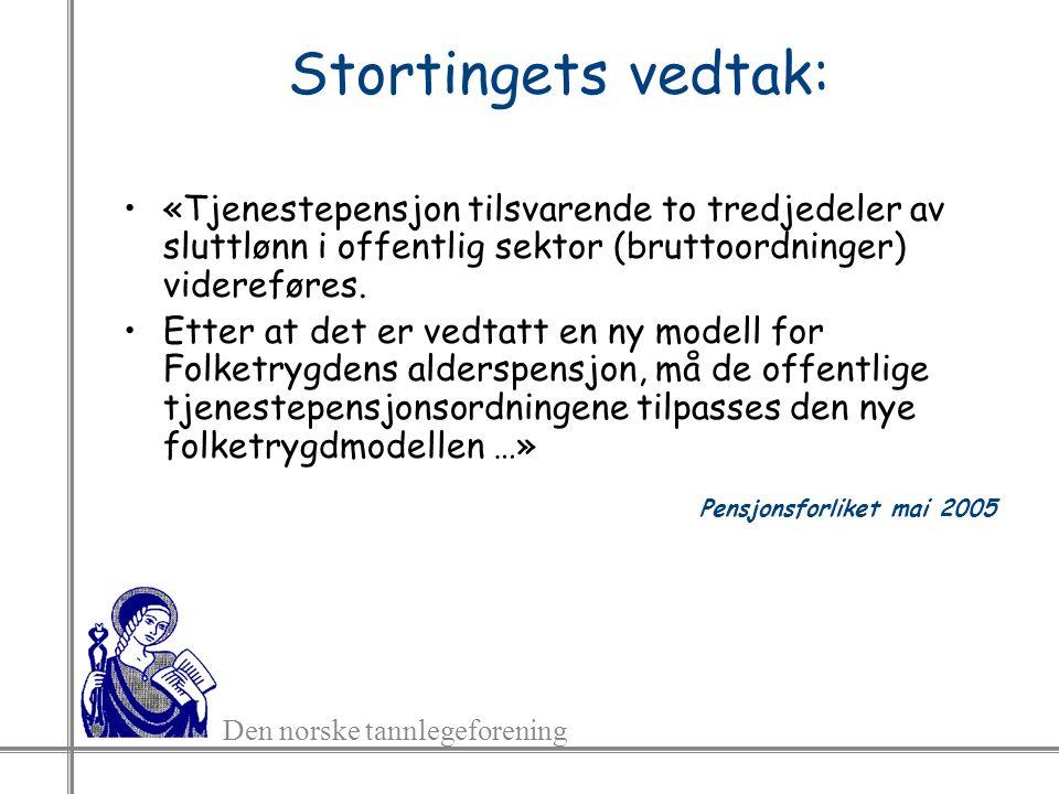Den norske tannlegeforening Stortingets vedtak: «Tjenestepensjon tilsvarende to tredjedeler av sluttlønn i offentlig sektor (bruttoordninger) videreføres.