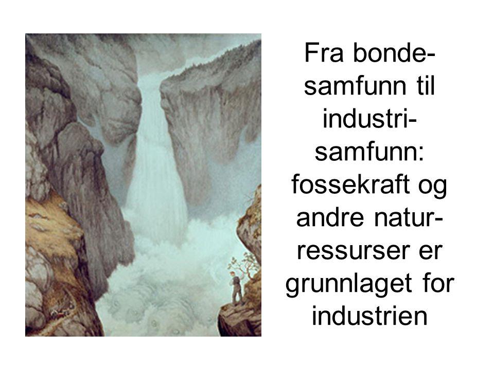 Fra bonde- samfunn til industri- samfunn: fossekraft og andre natur- ressurser er grunnlaget for industrien