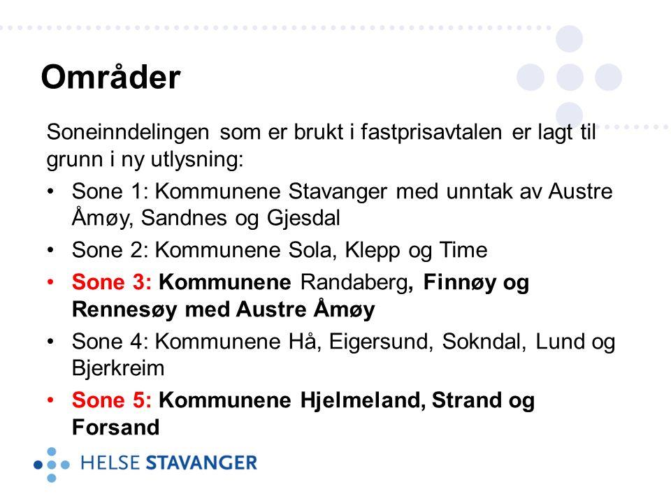 Soneinndelingen som er brukt i fastprisavtalen er lagt til grunn i ny utlysning: Sone 1: Kommunene Stavanger med unntak av Austre Åmøy, Sandnes og Gjesdal Sone 2: Kommunene Sola, Klepp og Time Sone 3: Kommunene Randaberg, Finnøy og Rennesøy med Austre Åmøy Sone 4: Kommunene Hå, Eigersund, Sokndal, Lund og Bjerkreim Sone 5: Kommunene Hjelmeland, Strand og Forsand Områder