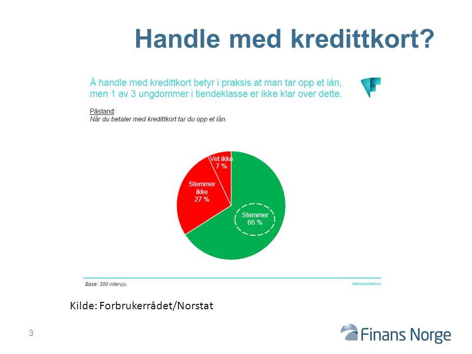 3 Handle med kredittkort Kilde: Forbrukerrådet/Norstat