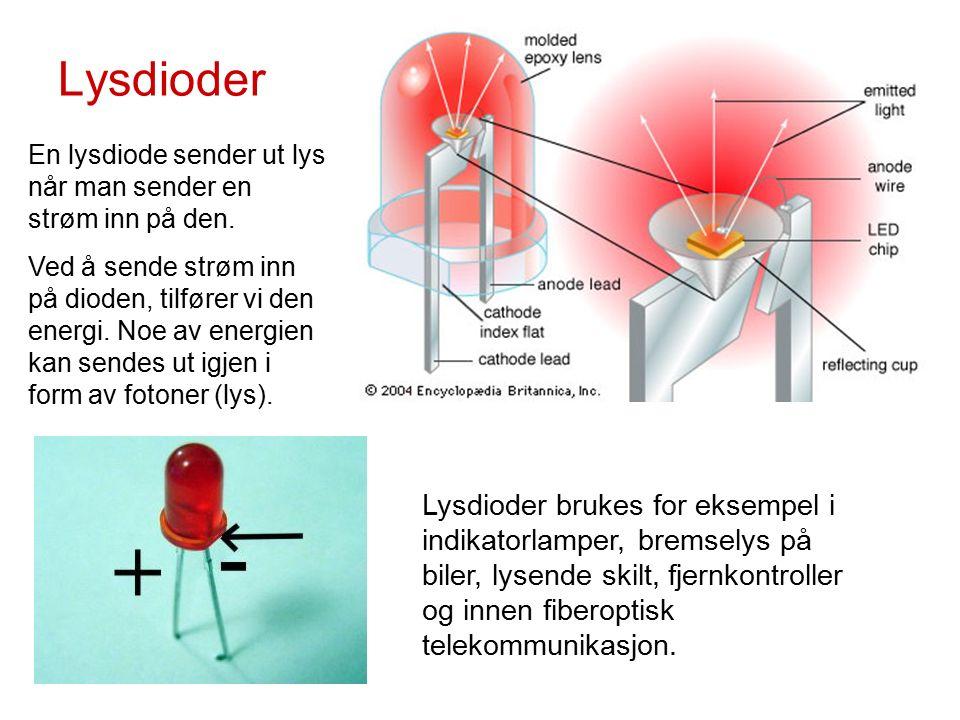 Lysdioder En lysdiode sender ut lys når man sender en strøm inn på den.