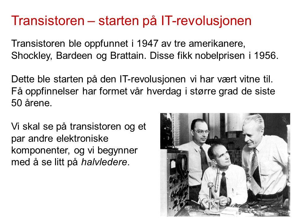 Transistoren – starten på IT-revolusjonen Transistoren ble oppfunnet i 1947 av tre amerikanere, Shockley, Bardeen og Brattain.