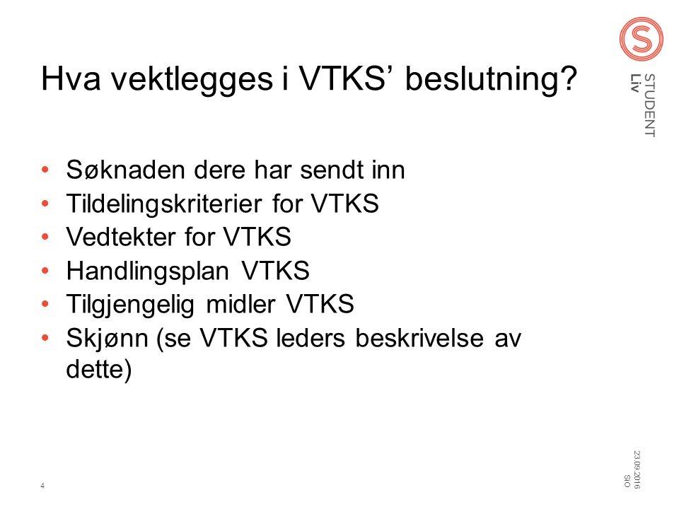 Hva vektlegges i VTKS' beslutning? Søknaden dere har sendt inn Tildelingskriterier for VTKS Vedtekter for VTKS Handlingsplan VTKS Tilgjengelig midler