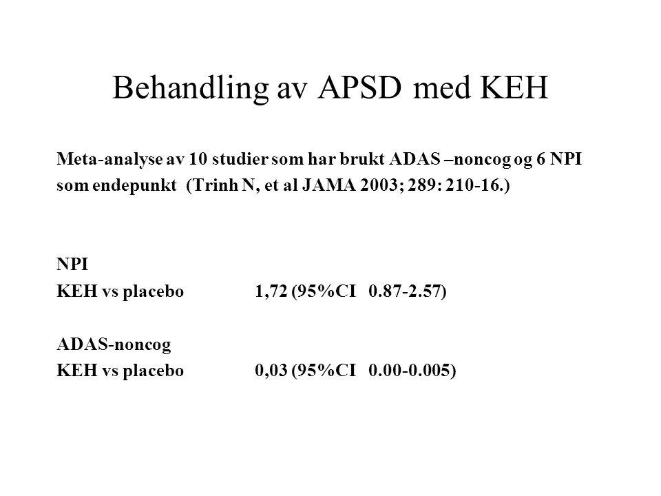 Behandling av APSD med KEH Meta-analyse av 10 studier som har brukt ADAS –noncog og 6 NPI som endepunkt (Trinh N, et al JAMA 2003; 289: 210-16.) NPI KEH vs placebo1,72 (95%CI 0.87-2.57) ADAS-noncog KEH vs placebo0,03 (95%CI 0.00-0.005)