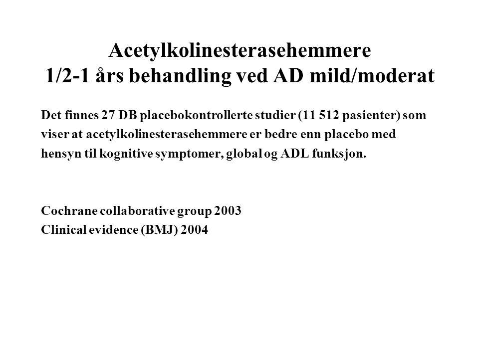Acetylkolinesterasehemmere 1/2-1 års behandling ved AD mild/moderat Det finnes 27 DB placebokontrollerte studier (11 512 pasienter) som viser at acetylkolinesterasehemmere er bedre enn placebo med hensyn til kognitive symptomer, global og ADL funksjon.