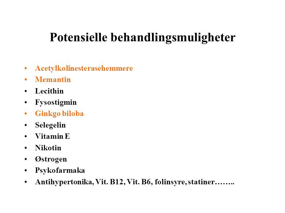 Potensielle behandlingsmuligheter Acetylkolinesterasehemmere Memantin Lecithin Fysostigmin Ginkgo biloba Selegelin Vitamin E Nikotin Østrogen Psykofarmaka Antihypertonika, Vit.