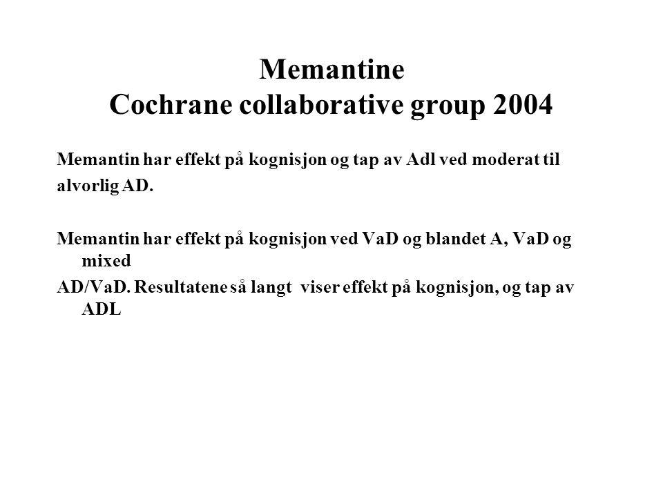 Memantine Cochrane collaborative group 2004 Memantin har effekt på kognisjon og tap av Adl ved moderat til alvorlig AD.