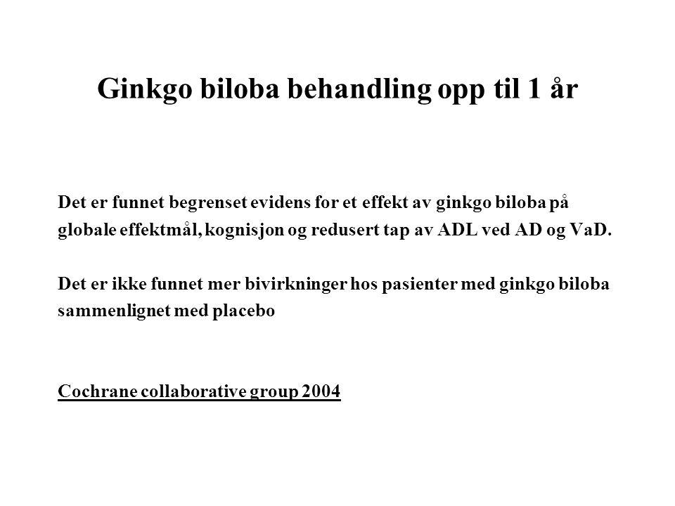Ginkgo biloba behandling opp til 1 år Det er funnet begrenset evidens for et effekt av ginkgo biloba på globale effektmål, kognisjon og redusert tap av ADL ved AD og VaD.