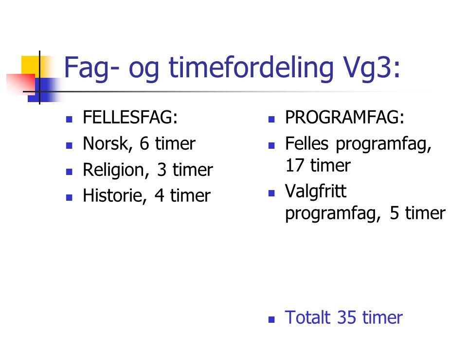 Fag- og timefordeling Vg2: FELLESFAG: Fremmedspråk nivå I eller II, 4 timer Geografi, 2 timer Historie, 2 timer Matematikk P/T, 3 timer Norsk, 4 timer Samfunnsfag, 3 timer PROGRAMFAG: Felles programfag, 12 timer Valgfritt programfag, 5 timer Totalt 35 timer