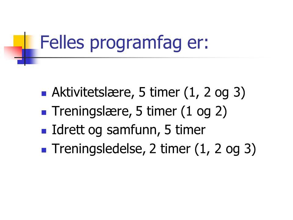 Fag- og timefordeling Vg3: FELLESFAG: Norsk, 6 timer Religion, 3 timer Historie, 4 timer PROGRAMFAG: Felles programfag, 17 timer Valgfritt programfag, 5 timer Totalt 35 timer