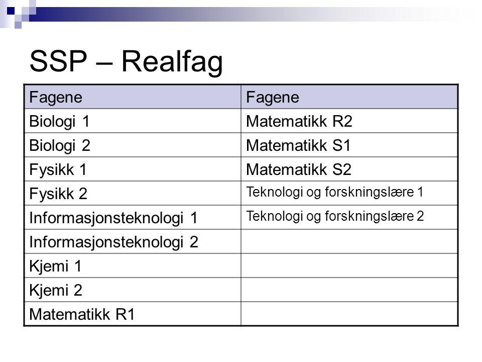 SSP – Realfag Fagene Biologi 1Matematikk R2 Biologi 2Matematikk S1 Fysikk 1Matematikk S2 Fysikk 2 Teknologi og forskningslære 1 Informasjonsteknologi