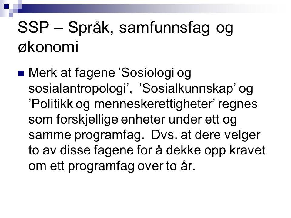 SSP – Språk, samfunnsfag og økonomi Merk at fagene 'Sosiologi og sosialantropologi', 'Sosialkunnskap' og 'Politikk og menneskerettigheter' regnes som